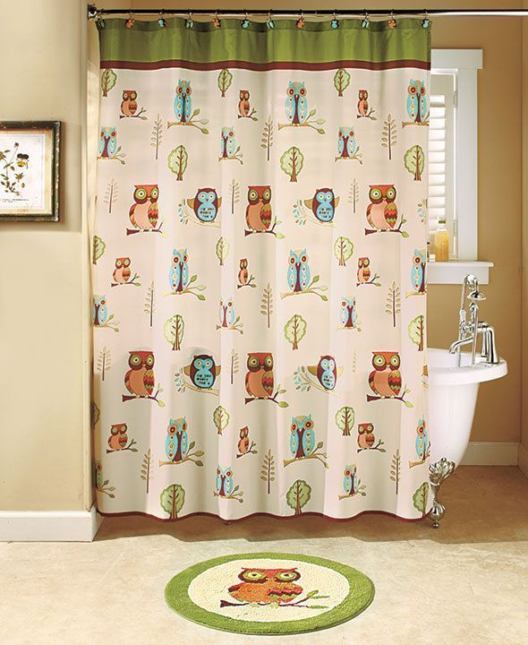 Owl Shower Curtain Towel Hook Soap Dispenser Pump Floor Rug - Owl bathroom decor set for small bathroom ideas