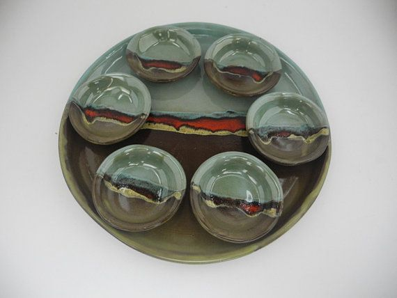Ceramic Plates Dishes and Serving Tray Passover Plate Tapas Plates Green and & Ceramic Plates Dishes and Serving Tray Passover Plate Tapas ...