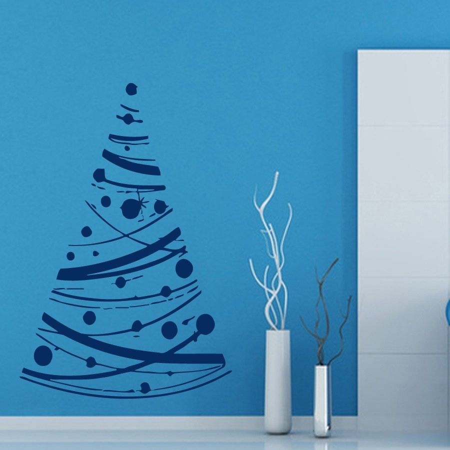 Wall Decals Decorated Christmas Tree Vinyl Sticker Murals Wall Decor