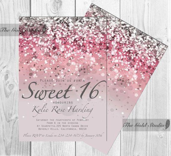 Sweet 16 Invitation Sixteen Pink Glitter Invite 16th Birthday Custom Glamorous Modern Party Invitations