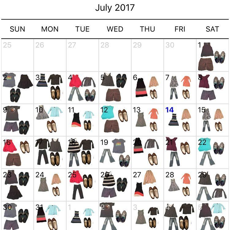 Project 333 Wardrobe Calendar For July 2017 By 30days 30challenges