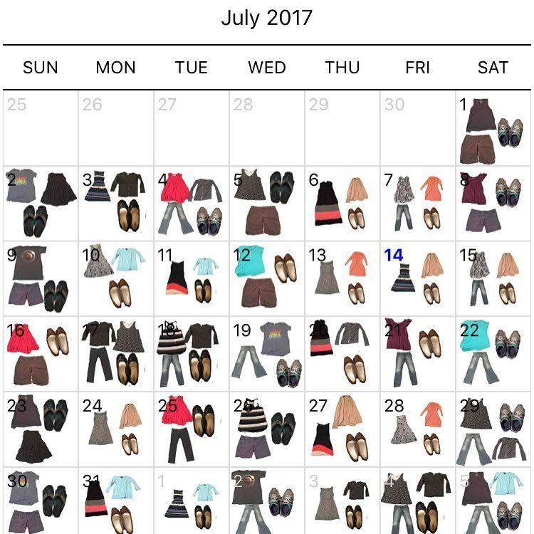 Project 333 Wardrobe Calendar for July 2017 by 30days_30challenges - l küche mit elektrogeräten