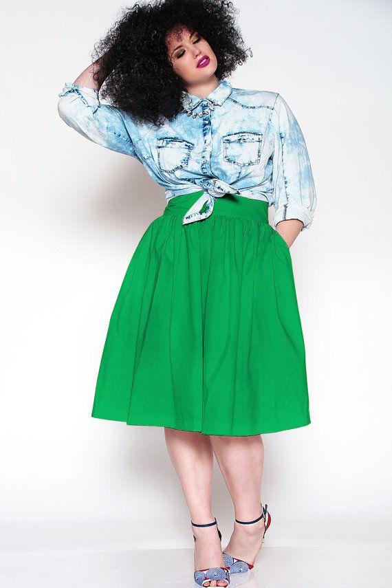 JIBRI Plus Size High Waist Flare Skirt (Green) | My style | Pinterest