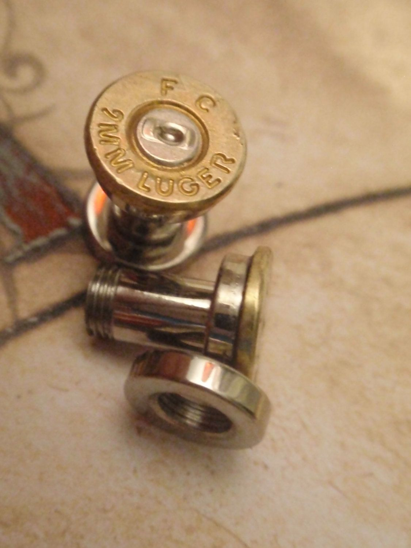 Single Bullet Ear Plug 9mm Earrings S U Pick Your Gauge Two Tone Gold Silver 20 99 Via Etsy