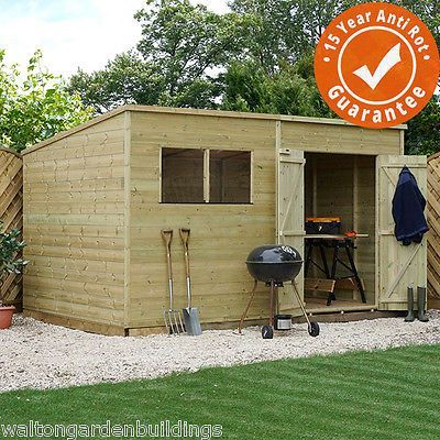 10x8 Pressure Treated Wooden Garden Storage Shed Pent Roof Double Door Waltons View More On The Link Http Www Garden Tools Design Garden Tool Shed Shed