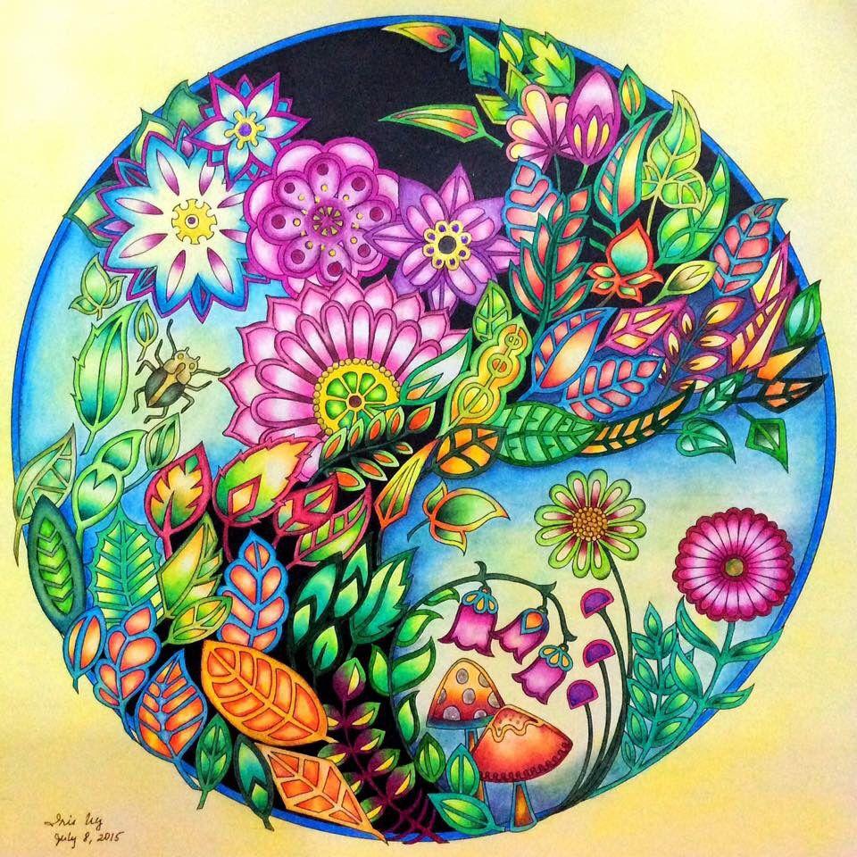 Zendoodle coloring enchanting gardens - Johanna Basford Enchanted Forest Flower Globe