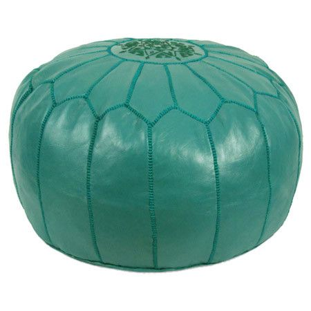 Handmade leather pouf in teal. Product: PoufConstruction Material: Genuine leather and shredded foam fill