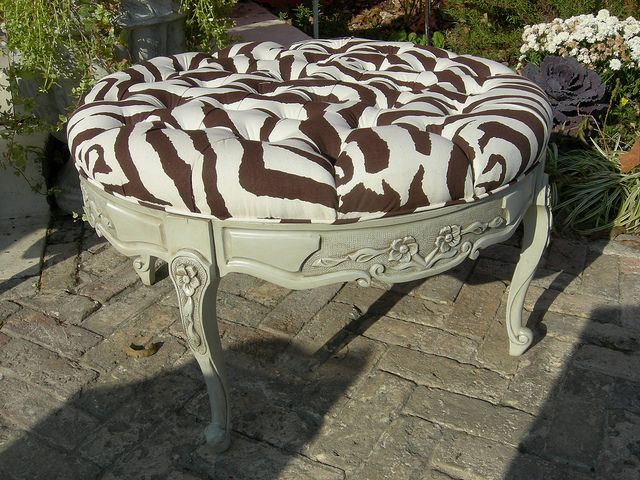 Coffee table turned tufted bench
