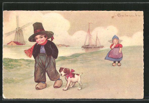 Künstler-AK E. Colombo: Kleine Niederländer und Hund 0