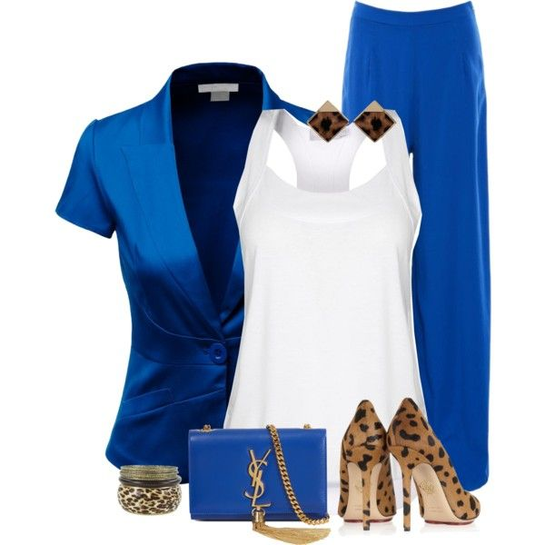 """""""Blue Suit & Leopard"""" by feelgood35 on Polyvore"""