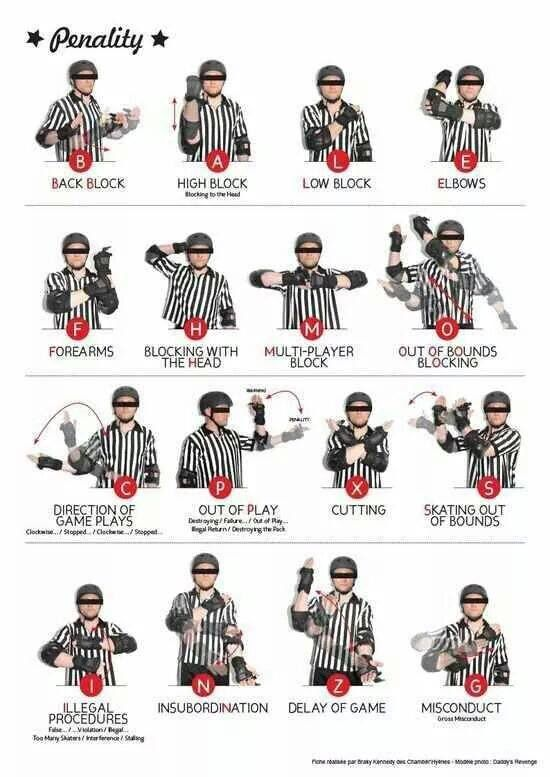 16 Official Hand Signals For Roller Derby Penalties Roller Derby Girls Roller Derby Skates Roller Derby