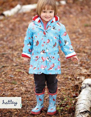 Hatley Winter Birds Lined Raincoat Rain Boots Raincoat Winter Bird Hatley