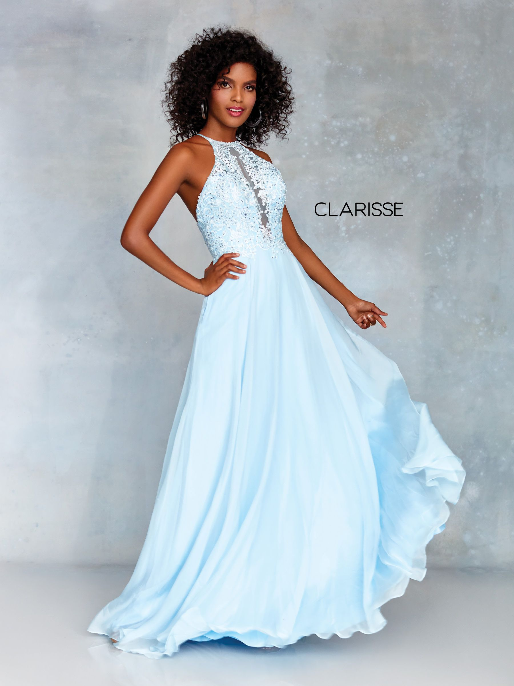 4fe36a21ad7 3757 - Light blue chiffon prom dress with a lace top