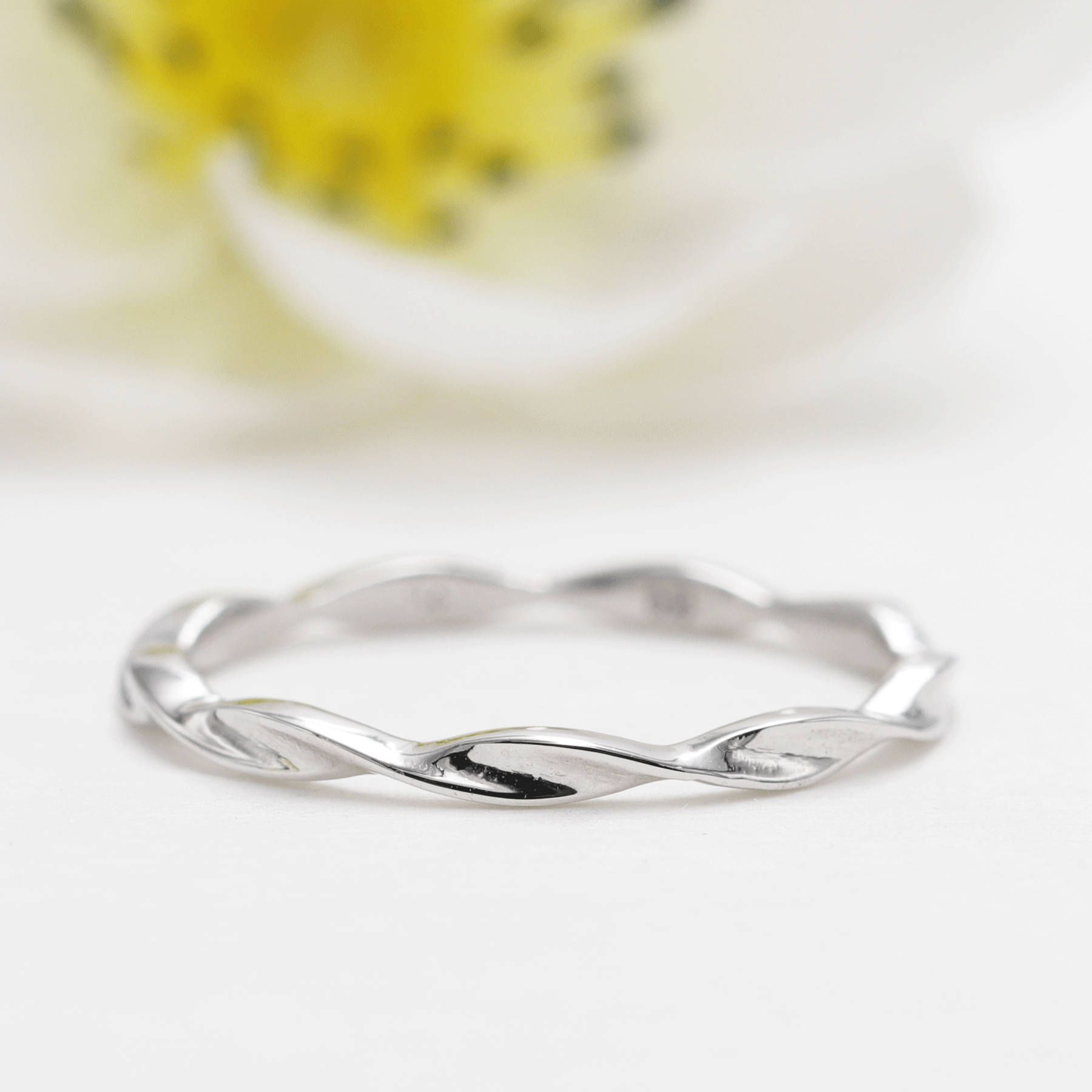 14k White Gold Twisted Wedding Band Matching Band For