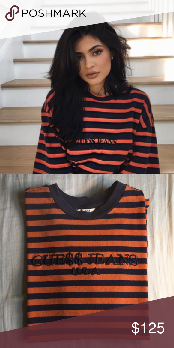 9ede6baab2 Asap Rocky Guess SEEN ON KYLIE JENNER! navy blue and orange A$AP x ...