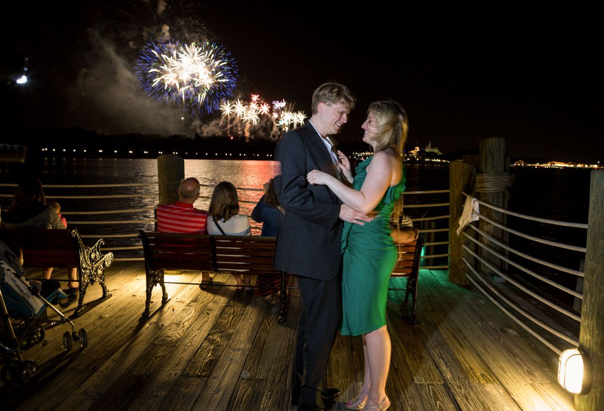 Surprise night time proposal at Disney's Grand Floridan by top Orlando engagement and wedding photographer