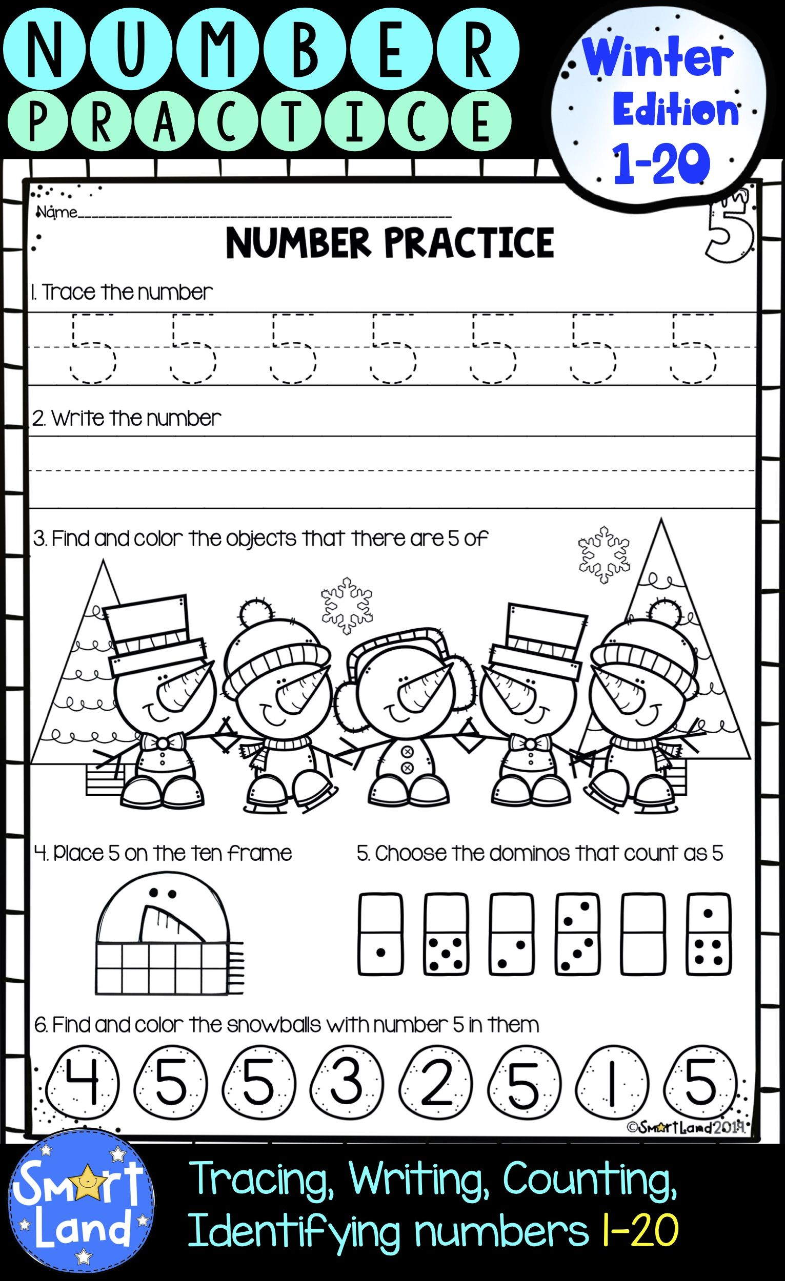 Numbers 1 20 Handwriting And Counting Winter Edition Distance Learning Writing Practice Writing Numbers Math Curriculum