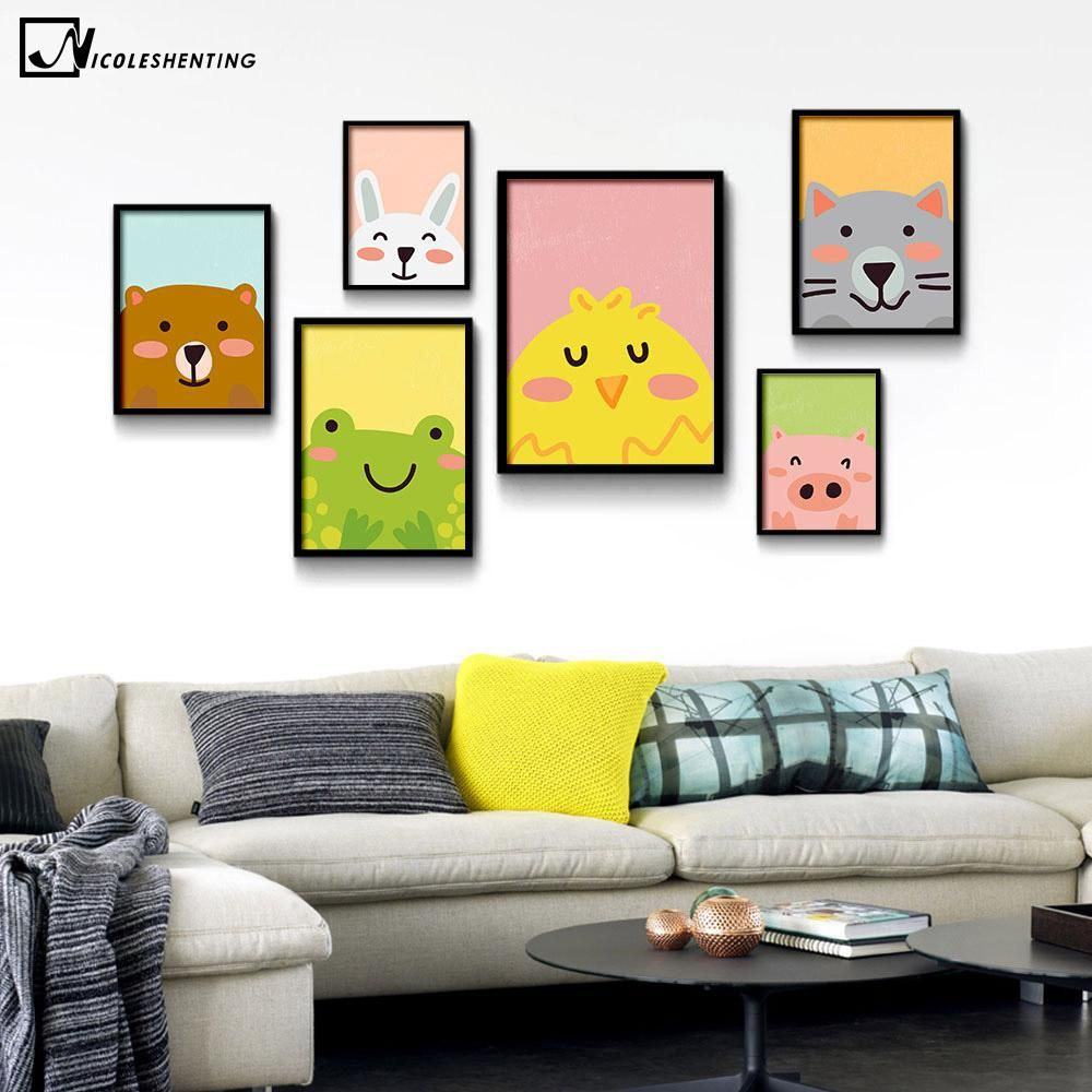 NICOLESHENTING Cartoon Animal Bear Pig Cat Minimalist Art Canvas ...