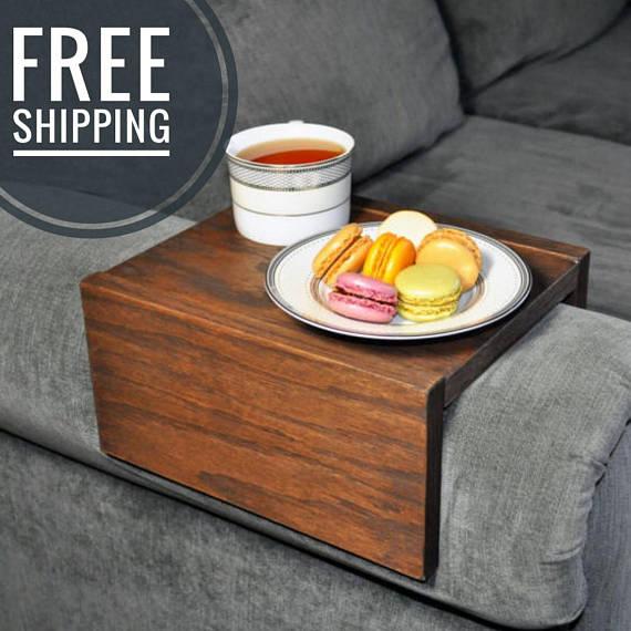 Sofa Armrest Table Custom Couch Armrest Chair Caddy Wood Etsy Arm Rest Table Custom Couches Sofa Arm Table
