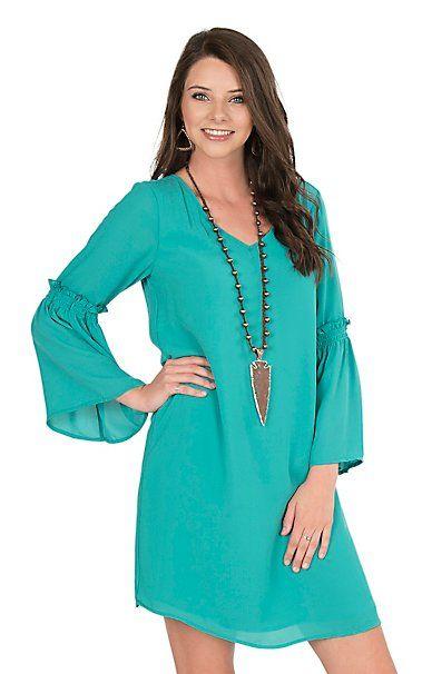 Wrangler Women's Turquoise with Long Bell Sleeves Dress | Cavender's