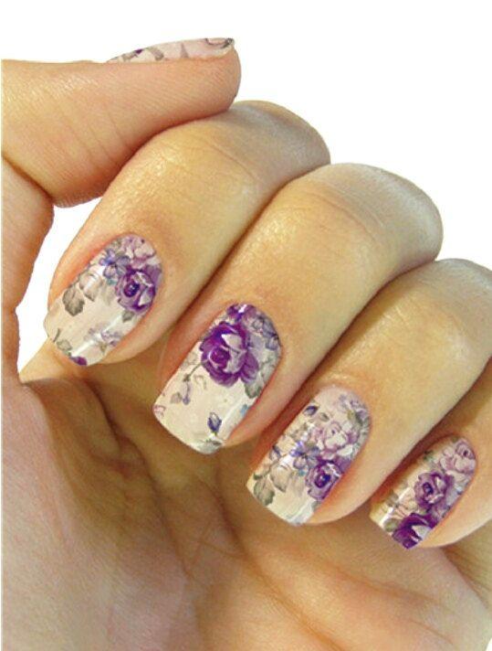 Purple Floral Nail Art Water Transfer Nail Decorationfloral Nail