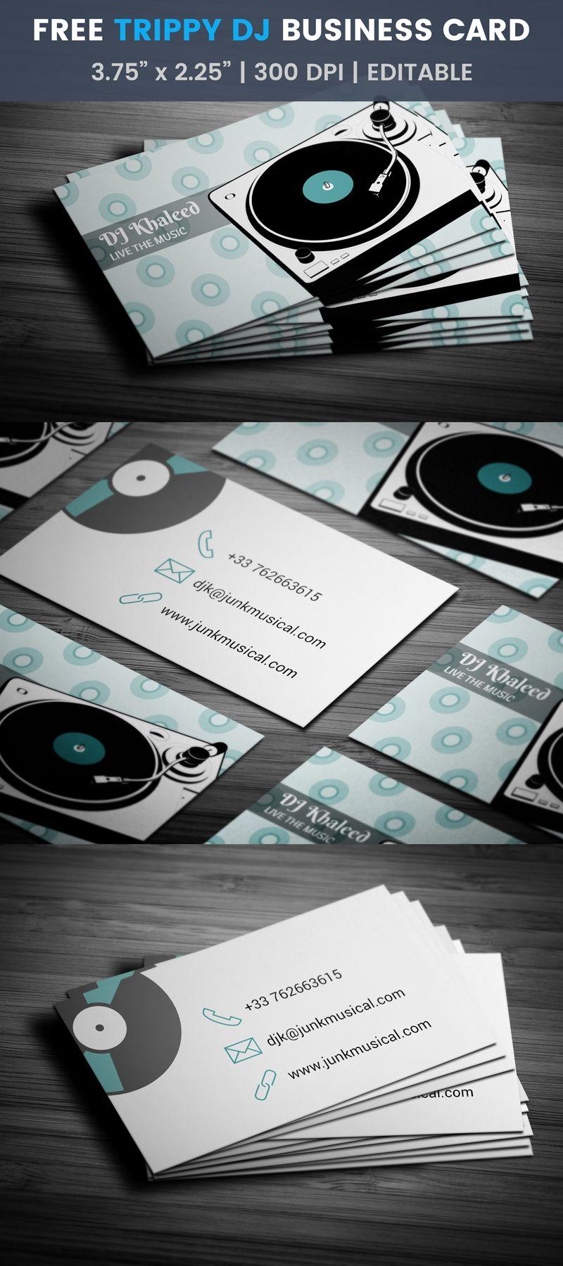 Free turntable business card pinterest dj business cards card vinyl disk dj business card template sound play dj reheart Gallery