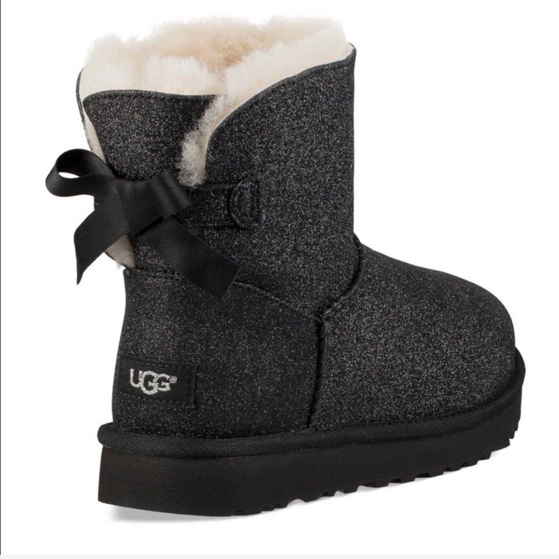 UGG Mini Bailey Bow Black Sparkle Boots