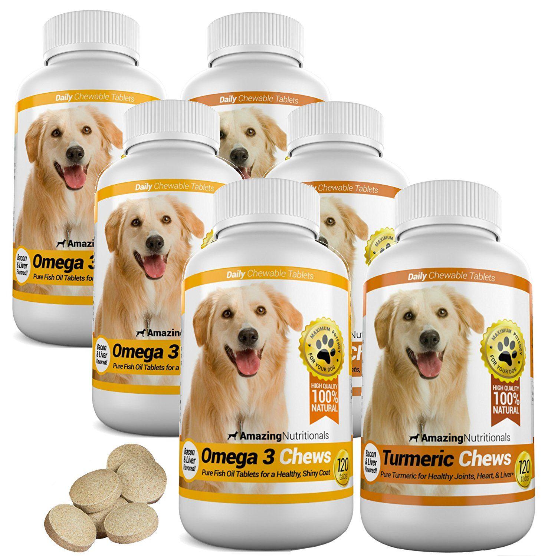 Amazing Combo Omega 3 Fish Oil And Turmeric Curcumin For Dogs