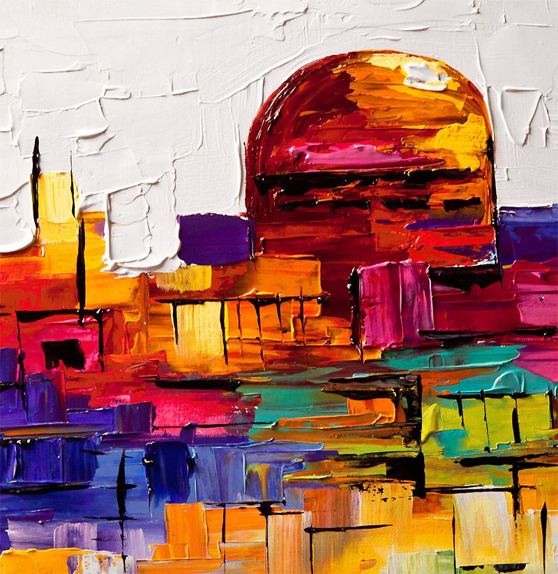 Colorful Painting Of Jerusalem Golden Dome   Abstract And Modern Art  Painting