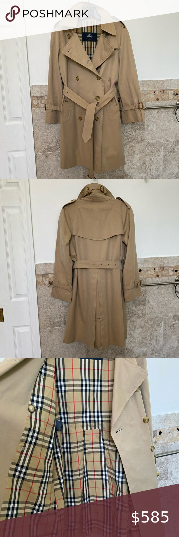 Burberry Women Trench Coat Coat Length 35 Inch Chest Across 19 Inch Size Us 6 Outer 100 Cotton Vintage Check Trench Coats Women Trench Coat Burberry Women