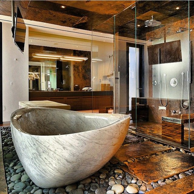 Favourite Bathroom Home Decor: That Tub Has To Be Our Favourite Part Of This Room. What's