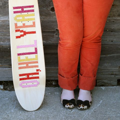 cross-stitch skateboard | Jessica Decker