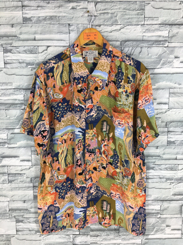 AVANTI Hawaiian Shirt Large Vintage 80's Multicolor Tropical Beach ...