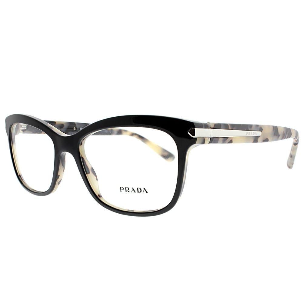 4ba249bd979 Prada Rectangle PR 10RV ROK1O1 Unisex Top Black White Havana Frame  Eyeglasses