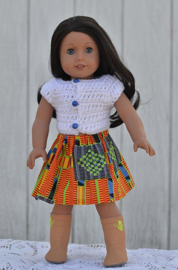 African Skirt and Crochet Buttoned Sweater for 18 by beeceequilts