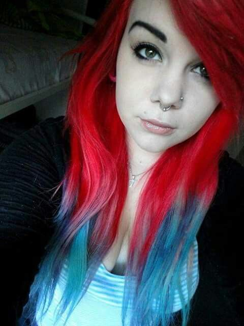 I Like The Red To Blue Ombre Blue Hair Dyed Hair Multicolored