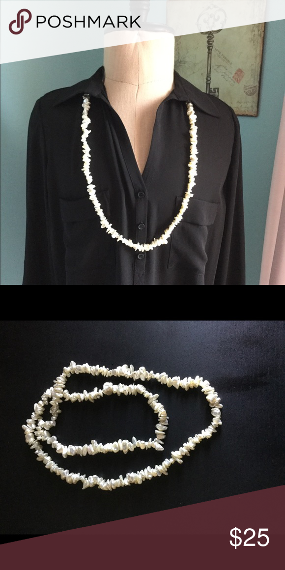 """08e117167 🧡Seed Pearl Necklace Gorgeous single strand seed pearl necklace from  Hawaii. 17"""" drop/diameter. No clasp so slips over head. Off white pearls."""