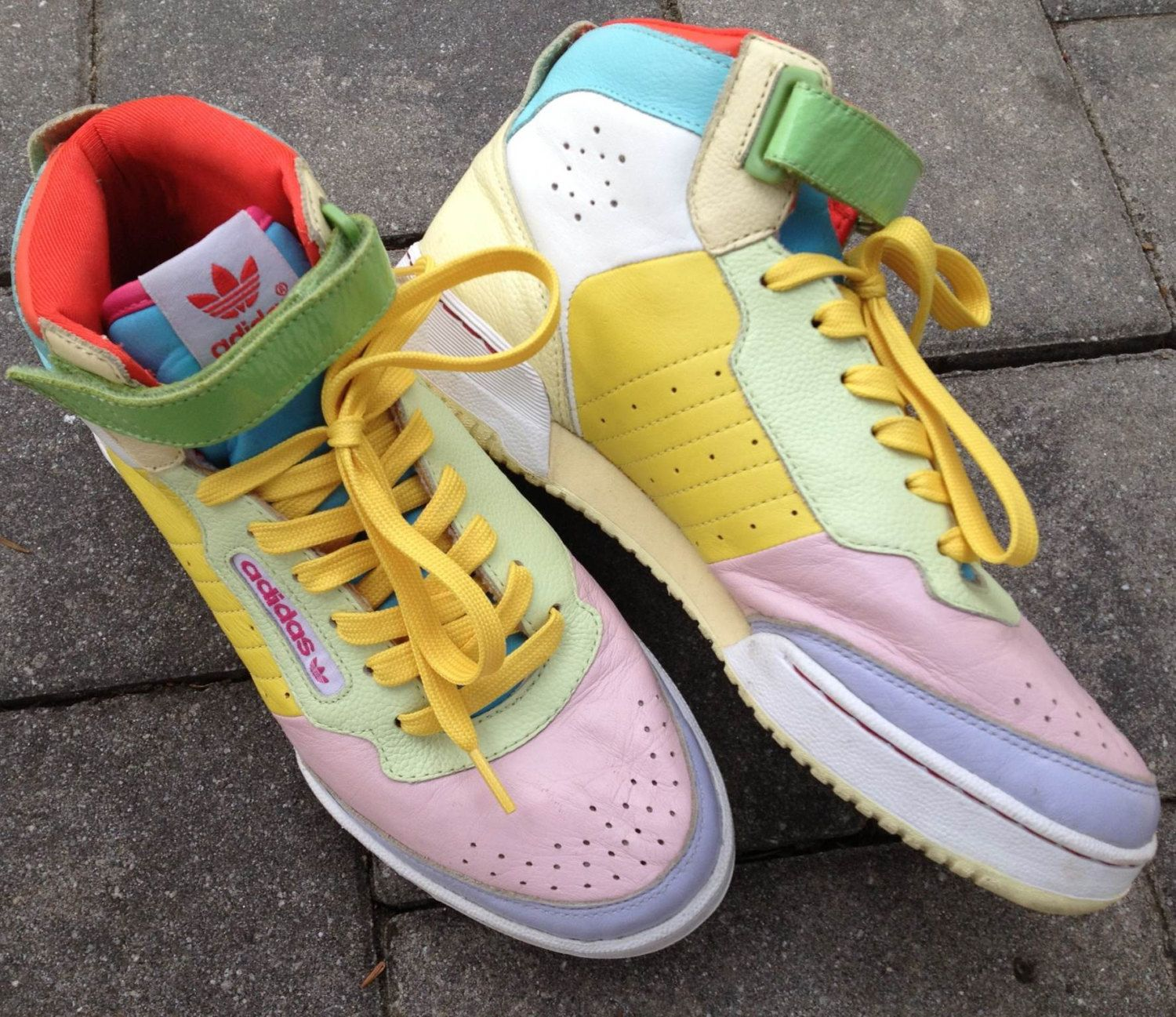 Vintage 80s/90s Adidas High-Top Pastel Color Block Leather Sneakers Womens  Size 7.5