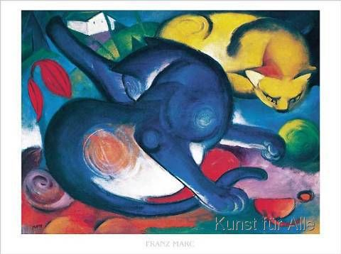Franz Marc Zwei Katzen Blau Und Gelb Art Print Canvas On Stretcher Franz Marc Cat Art Art