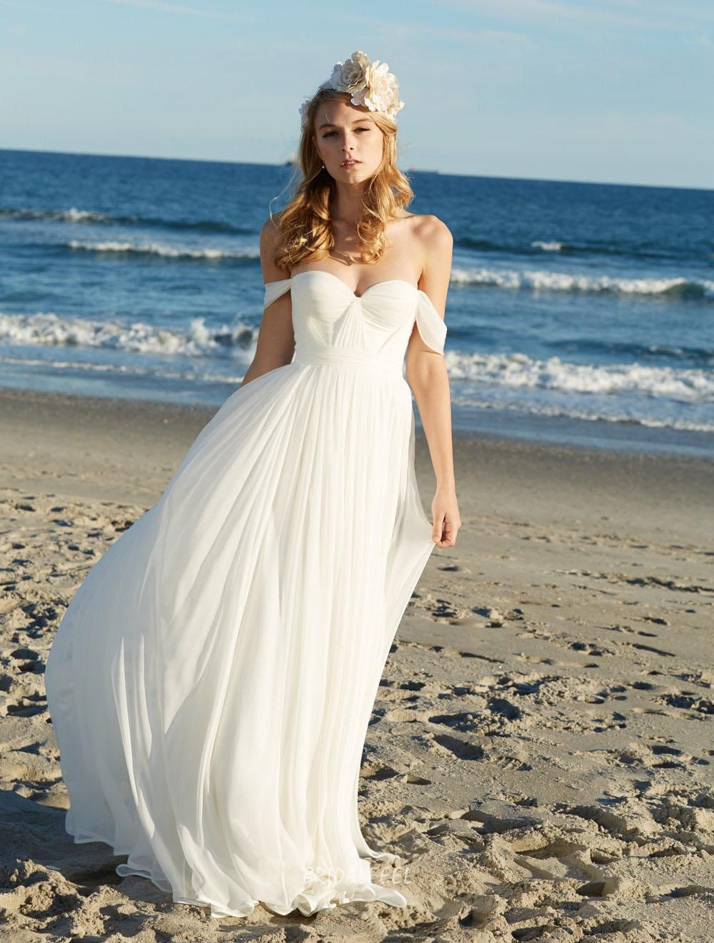 Off The Shoulder Sweetheart Chiffon Beach Summer Wedding Dress