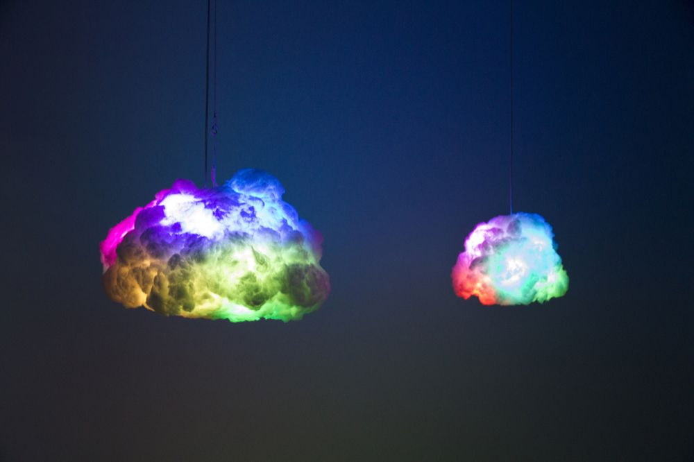 Size Comparison Between Smart Cloud Vs. Tiny Cloud   Both In Rainbow Lamp  Mode.