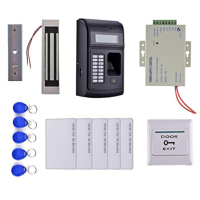 Lcd Biometric Pin Code 125khz Rfid Id Card Reader Door Lock Fingerprint Access Control System Kit Magnetic L Access Control System Access Control Magnetic Lock
