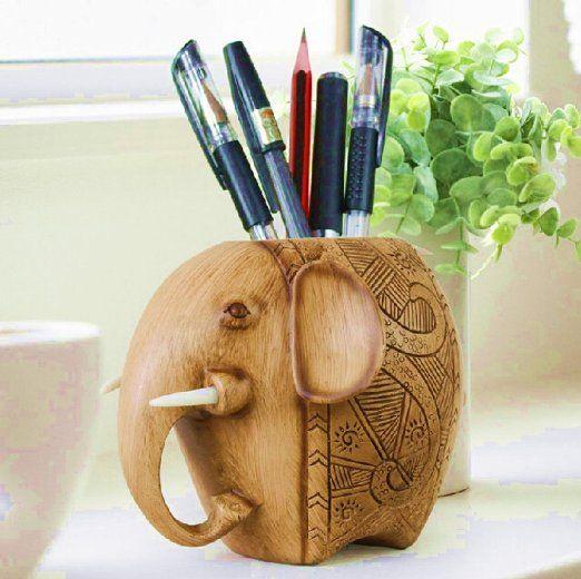Amazon.com : Devis Carving Elephant Pencil Holder Fashion Creative Desk  Decoration, Cute Pencil