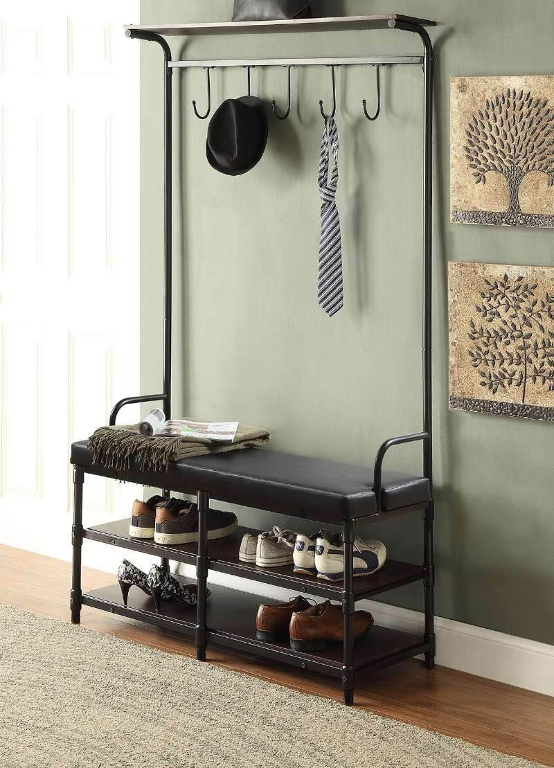 Hallway storage stand  Black Metal and Black Bonded Leather Entryway Shoe Storage Bench