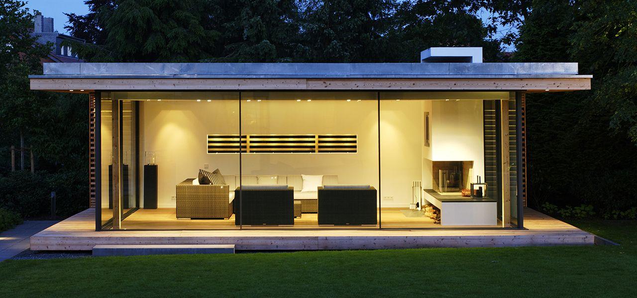Garden Room Design base stud work Minimal Windows To Contemporary Garden Room By Iq Glass