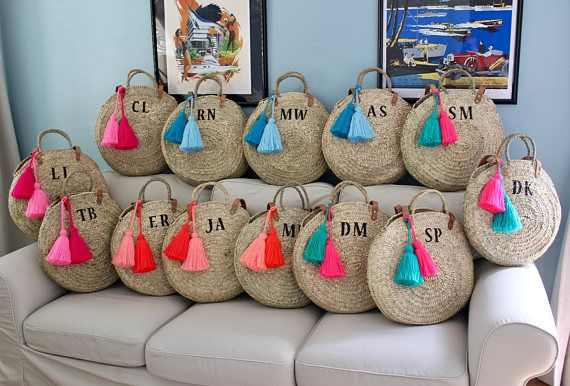 Personalized round straw bag with leather handles and tassels, monogrammed basket, monogram straw bag, straw beach bag, personalized bag