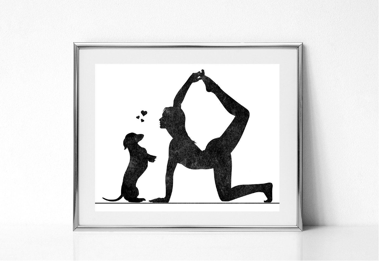 Woman In Yoga Pose Woman With Dachshund Dog Print Yoga Wall Etsy Yoga Wall Art Black Wall Art Meditation Art