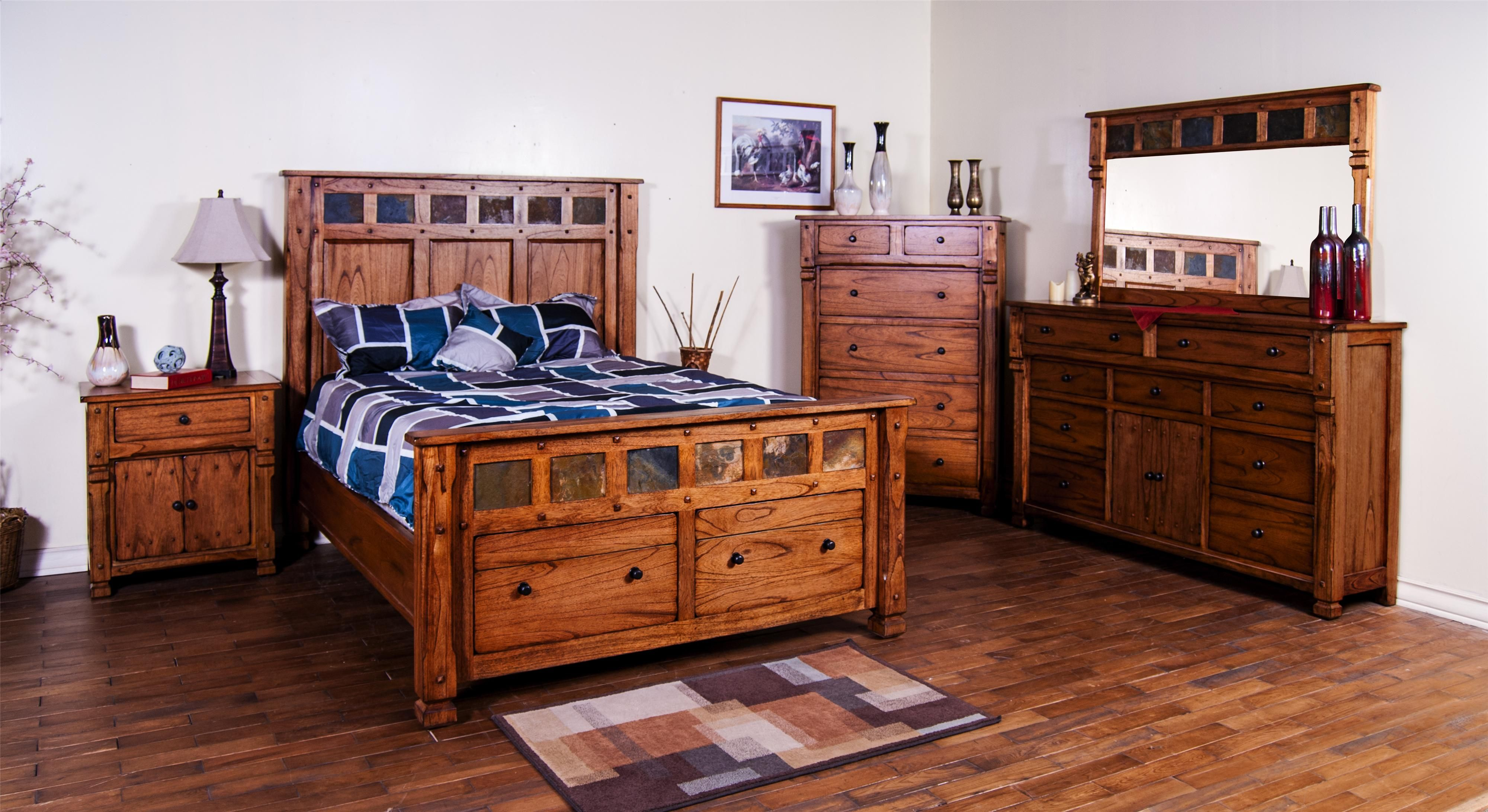 Sunny designs furniture sedona bedroom collection featuring beds with genuine slate and storage for Sunny designs bedroom furniture