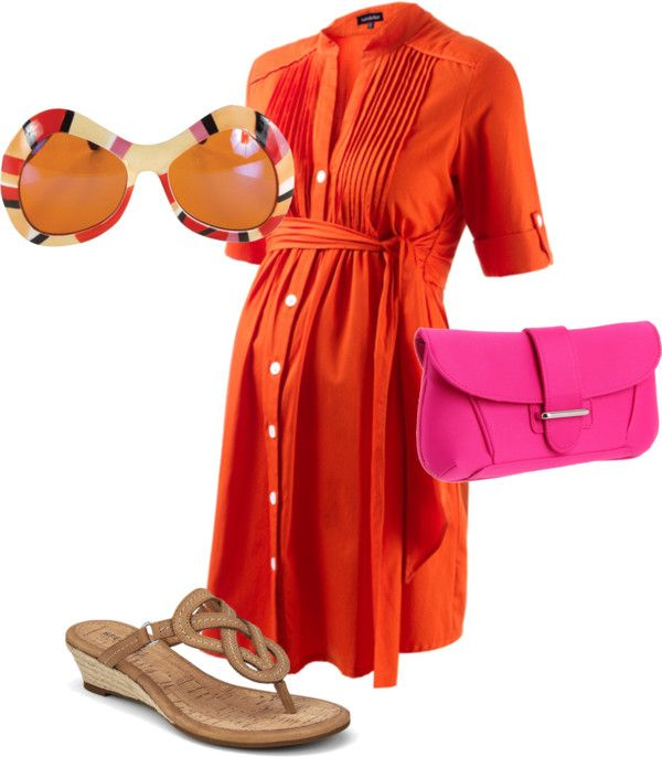 """Fun Tangerine"" by pregnantchicken on Polyvore #Maternity"
