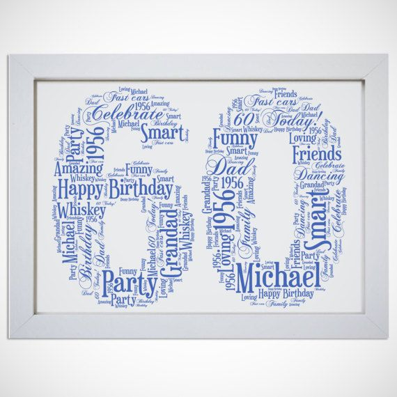 Personalised Name 60th Birthday Age Number Framed Word Art Printed Birthday Framed Word Art 60th Birthday